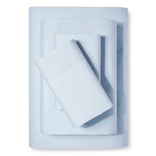 PC Diana Lin 100% coton Drap de lit Ensemble – 400 fils Satin tissé – Naturel, doux, 35 cm de profondeur de linge de lit Luxueux de qualité – 4 pièces de poche (Bleu clair massif Euro Ikea King)
