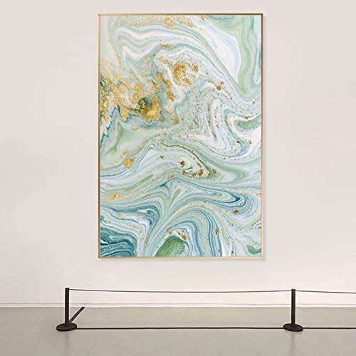 wZUN Pintura al óleo Abstracta con patrón de Agua Dorada sobre Lienzo, póster de Arte, decoración del hogar, Pintura, Sala de Estar, 50x75 cm