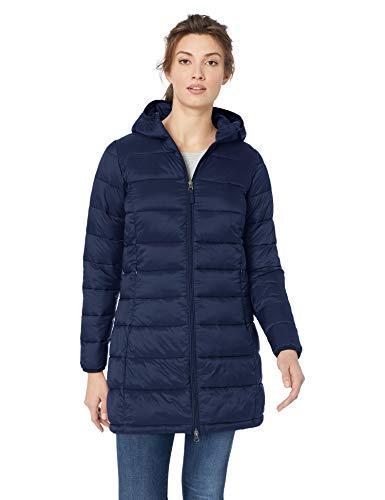 Amazon Essentials Women's Lightweight Long-Sleeve Full-Zip Water-Resistant Packable Hooded Puffer Coat, Navy, Medium