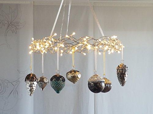Adventskranz LED mit Glasschmuckkugeln - Komplettset, Weihnachtskranz, Lichterkranz, LED-Kranz