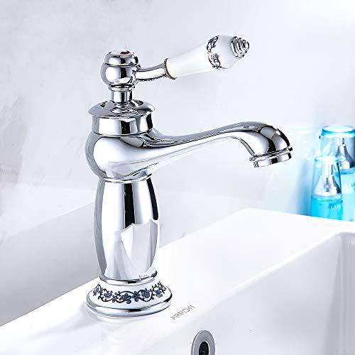 ODOMY Retro Badarmatur Waschbecken Wasserhahn Bad Armatur Waschtischarmatur Einhebelmischer Mischbatterie Waschtischbatterie für Badezimmer Vintage Nieder Auslauf Chrom
