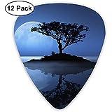 12 Pack Guitare Médiators Plectres Petite Île Lune Celluloid Guitar Pick Set Pour Guitare Électrique Acoustique Basse Mandoline Ukulélé 0.46mm 0.71mm 0.96mm