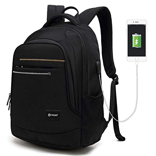 Backpack Business Travel Laptop USB Charging Water-Resistant 15.6 Inch Casual Large Capacity Outdoor Computer Work School Rucksack for Womens Mens,Black
