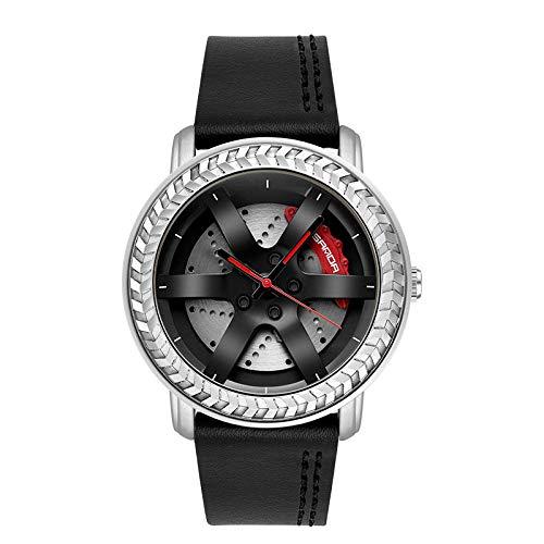 SANDA Relojes Hombre,Mira el Reloj del cinturón de Moda de los Hombres del Estudiante Masculino-Plata