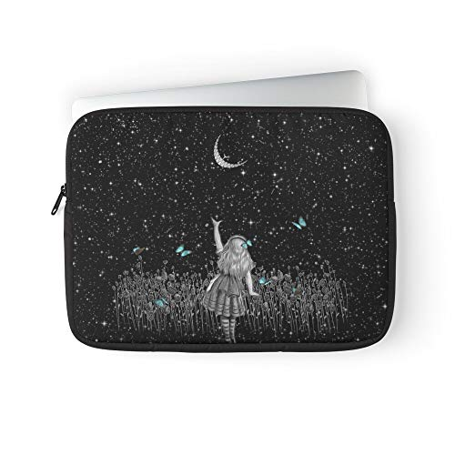 Alice Cheshire Wonderland Night Stars Cat Starry in Laptop Sleeve Bag Compatible with MacBook Pro, MacBook Air, Notebook Computer, Water Repelle