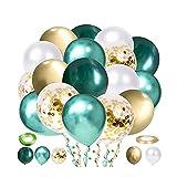 80 Piezas Globos Metalicos, Globos de Confeti Dorado, Globos de Látex de Oro Blanco Verde para Decoración de Cumpleaños, Bodas, Decoración de Fiestas, Fiestas de Cumpleaños Infantiles