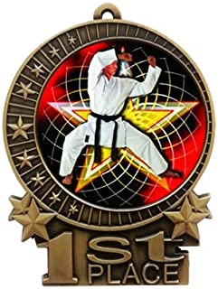 """Express Medals Large 3"""" Martial Arts Karate 1st Place Medal Gold with 3 Lines of Personalized Free Engraving and Neck Ribb..."""