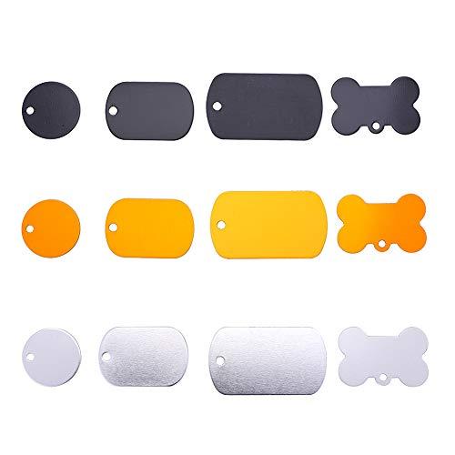 PH PandaHall 24 pcs 4 Shapes 3 Colors Pet ID Tag Charm, Flat Round/Rectangle/Bone Shape Personalized Aluminium Blank Pendants for Dogs Cats Mixed Colors