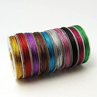 PEPPERLONELY Brand 10 Rolls (10M/Roll) 0.6mm Braided Non-Elastic Metallic Beading Cords Jewelry Making Threads
