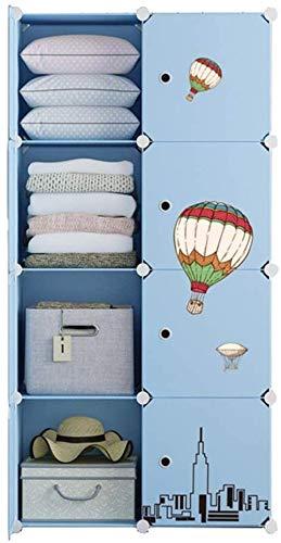 JHDDP3 Organizador de Almacenamiento Armario de pie Armario Armario Removable Almacenamiento de plástico con Puerta División-Grid Estantes Ropa Dormitorio Casa Azul (Tamaño: 75x37x111cm)