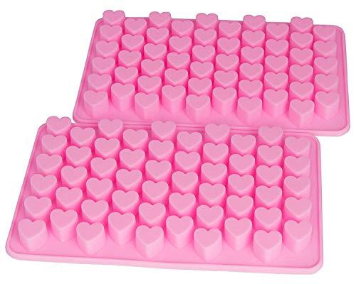 Voarge 2 Stück Herzform Silikon Eiswürfel, Backformen mit 55 herzförmigen Backformen aus Silikon, DIY Liebe Schokoladenkuchenform