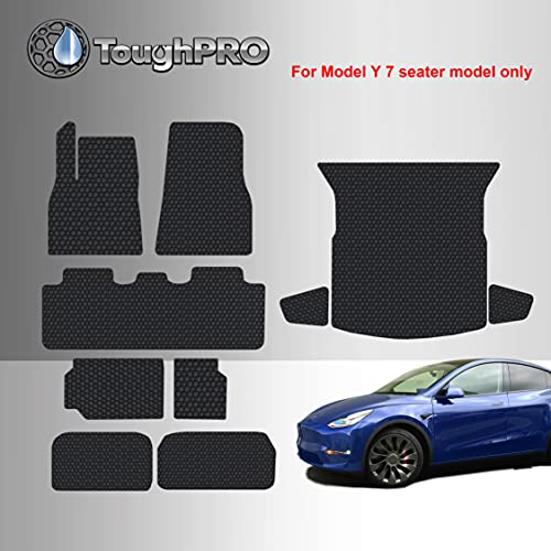 TOUGHPRO Floor Mat Accessories Set (Full Set + Cargo) Compatible with Tesla Model Y Long Range - 7 Seater - All Weather - Heavy Duty - Custom Fit - (Made in USA) - Black Rubber - 2021