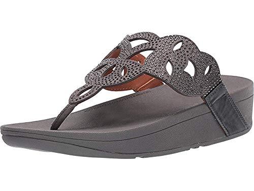 FitFlop Elora Crystal Toe Thong Sandal Pewter 7 M (B)