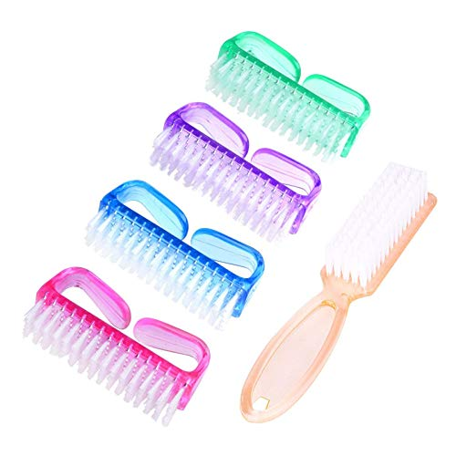 Handle Grip Nail Brush, Hand Fingernail Scrub Cleaning Brushes for Toes and Nails Cleaner, Pedicure Scrubbing tool kit for Men and Women 5 Pack (Multicolor)