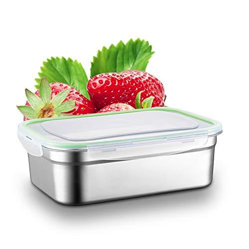 N/D Yisika Caja de Acero Inoxidable, Caja de Almuerzo con Tapa de Plástico, Caja de Alimentos Ideal para Almuerzos Escolares y Ensalada(1L)