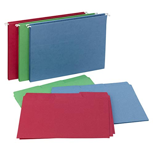 Smead Reveal Hanging Folders with SuperTab Folders Kit, 1/2' Expansion, 1/3-cut Oversized Tabs, Letter Size, 9 Assorted Colors/27 Assorted Colors, Per Box (92018)