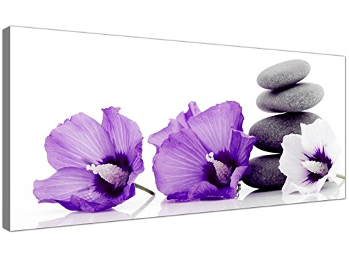 Impresiones De Lienzo De Flores Púrpuras Y Guijarros Grises - Modern Floral Wall Art - 1071 - Wallfillers®