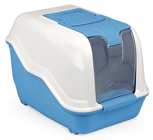 XXL Katzentoilette NETTA MAXI weiss-blau speziell für große Katzenrassen