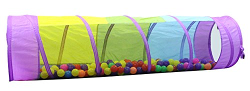 Kiddey Multicolored Play Tunnel for Kids (6') – Crawl and Explore Tent, with See Through Mesh Sides, Promotes Healthy Fitness, Early Learning, and Muscle Development – Balls NOT Included