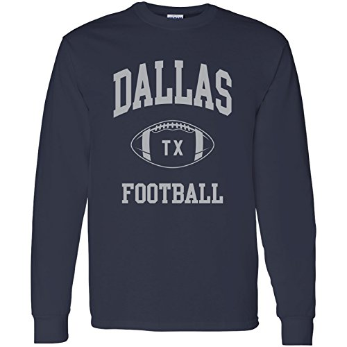 Dallas Classic Football Arch American Football Team Long Sleeve T Shirt - Large - Navy