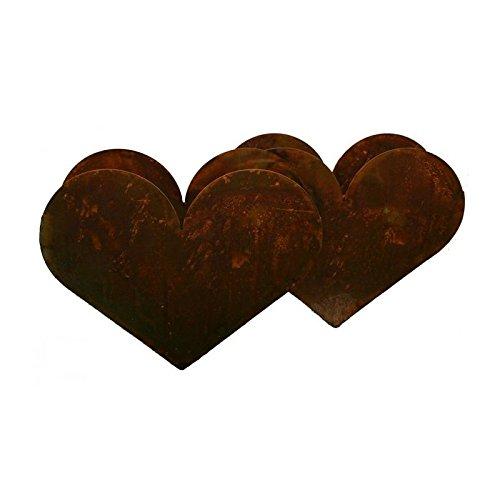 Radami Herz Doppelt Pflanzgefäß Rostiges Metall Pflanztopf Blumentopf Pflanzentopf, rostiger Blumenständer