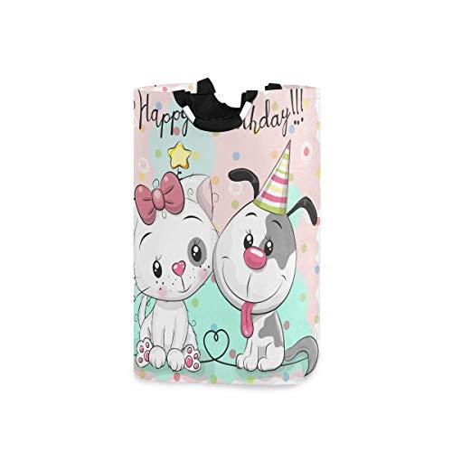SURERUIM Wäschesack Gruß-Geburtstagskarte Nette Karikaturkatze Großer faltbarer Wäschekorb,zusammenklappbarer Wäschekorb,zusammenklappbarer Waschvorratsbehälter