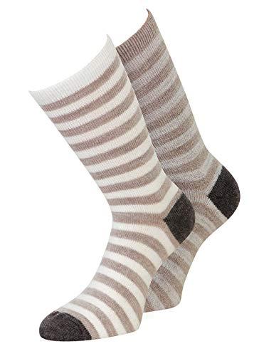 4 Paar Alpaka Socken Damen mit Umschlag mit Alpaka, vier Farben (39-42, 4 Paar Ringel)