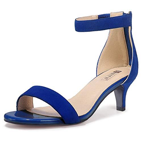 IDIFU Women's Low Kitten Heels Sandals Ankle Strap Open Toe Wedding Pump Shoes with Zipper(8.5, Royal Blue Suede)