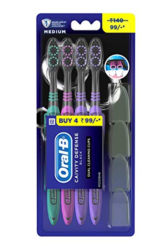 Oral B Cavity Defense 123 Black Toothbrush - Medium (Pack of 4)