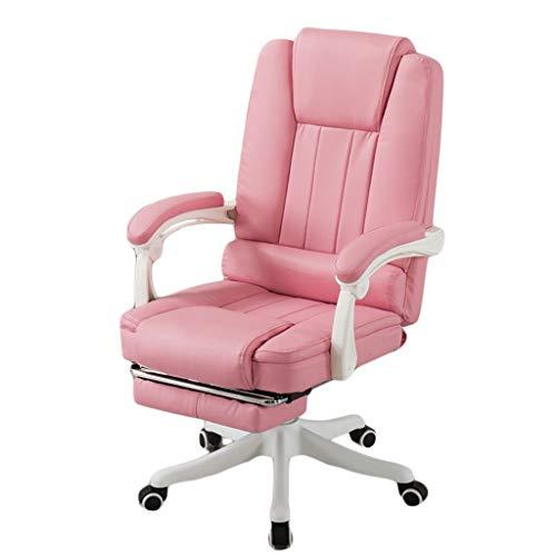 LiKin Silla Gaming Profesional para Niña, Sillas Ergonómica de Escritorio Ajustable Giratoria Silla de Respaldo Alto con Reposapiés Retráctil (Color : Pink)
