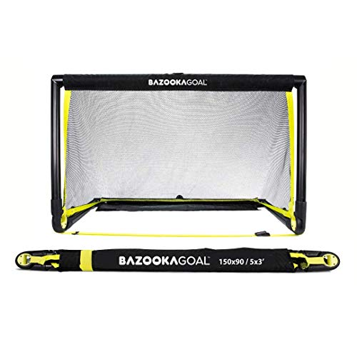 BazookaGoal Original Fußballtor Klappbar, Outdoor/Indoor-Set mit massivem Rahmen – Pop up Tor 1,50m x 0,90m