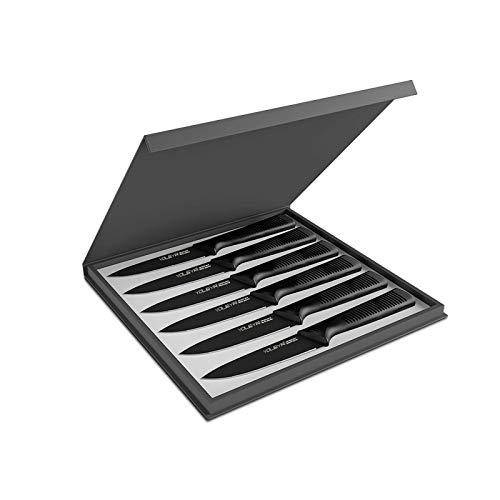 YOLEYA Steakmesser Set 6-teilig, Steakmesser mit 4.5 inch 13cm gezahnt Klinge, Steakbesteck aus rostfreiem Stahl mit hohem Kohlenstoffgehalt, schmutz- & korrosionsbeständig