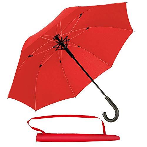 Newdora Stockschirm Regenschirm Windproof Manuelles Schließen Fiberglas Rippen Golf Umbrella Lightweight Extra Large 210T Wasserdichter Golfschirm Herren Damen mit rutschsicherem Griff (Rot)