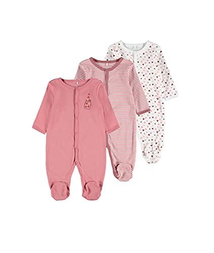 NAME IT Nbfnightsuit 3p W/F Dusty Rose Noos Mamelucos para bebés y niños pequeños, Rosa pálido, 1 Mes