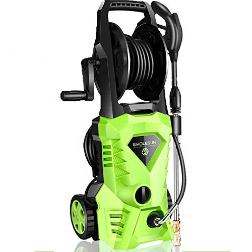 WHOLESUN 3000PSI Electric Pressure Washer 2.4GPM 1600W Power Washer with Hose Reel and Brush Green
