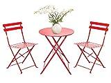 FRANKYSTAR Set Retro Bistro 2 sedie + tavolino Pieghevole salvaspazio per Giardino, Balcone, Veranda...
