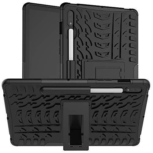 YIHUI Funda Protectora para Tablet PC Caja Protectora Galaxy Tab for Samsung S7 T870 / T875 Textura del neumático a Prueba de Golpes de TPU + PC con el sostenedor (Color : Black)