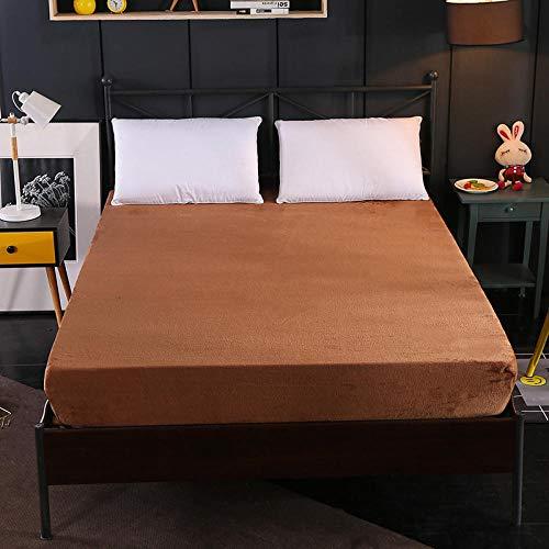 XGguo Protector de colchón - óptimo antiácarosSábana de Terciopelo de Color sólido de una Sola Pieza Engrosamiento-marrón_180cm × 220cm