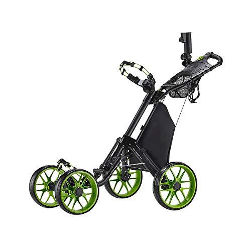 CaddyTek one Klick-klappbar, golf trolleys 4 Rad Golf Push cart,golfwagen-mit lager - tasche, lime