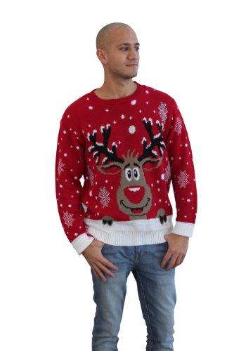 CelebLook Hombre Vintage Reno De Navidad Suéter Cuello Redondo suéter pulóver - Rojo, Large