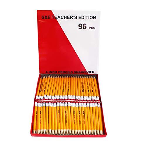 S & E TEACHER'S EDITION Half Pencils with Eraser Tops 96Pcs, Golf, Classroom, Pew - #2 HB, Hexagon, 96/Box.