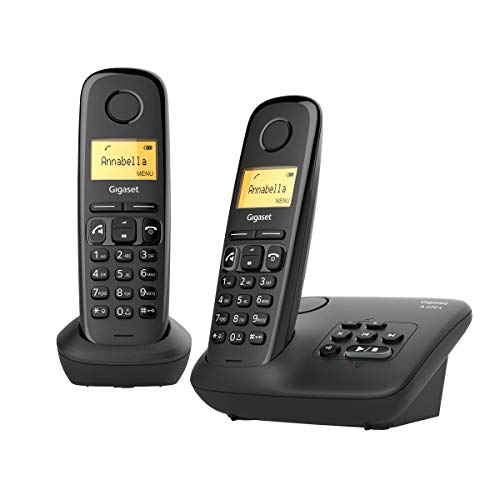 Gigaset A270 a Duo, Due Telefoni Cordless con Segreteria Fino a 25 Minuti, Vivavoce, Ampio Display, Nero [ITALIA]