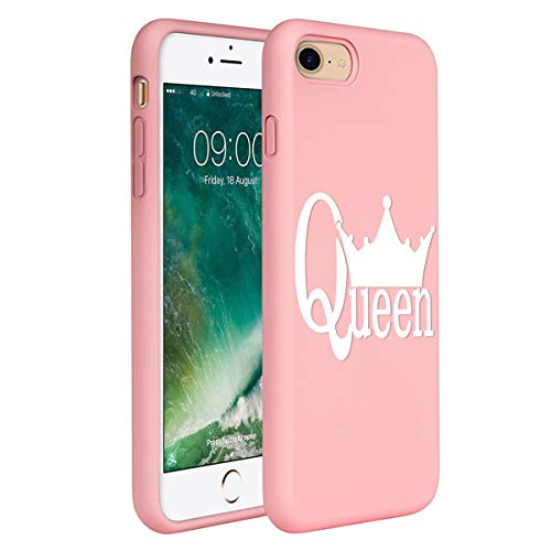 ZhuoFan Cover per iPhone 7 / iPhone 8, Custodia Silicone Rosa con Disegni Ultra Slim TPU Morbido Antiurto 3D Cartoon Bumper Case Protettiva per Apple iPhone SE 2020 / iPhone7 Smartphone, Queen