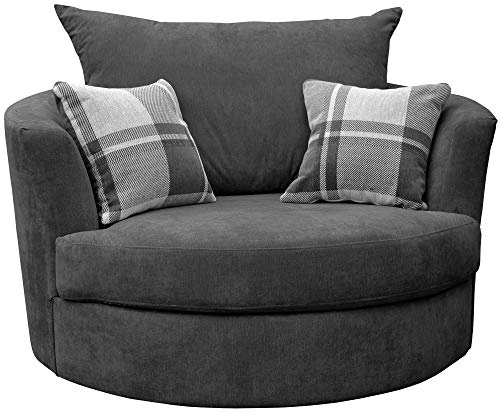 Sofas and More Large Swivel Round Cuddle Chair Fabric (Grey)