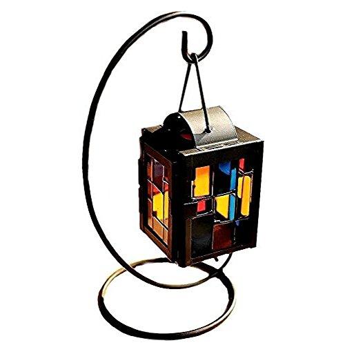 Leisial Hierro Candelero con Vidrio Colorido de Metal Colgante Creative Vela Portavela Candelabro Decoración Boda Escritorio Oficina Hogar,Negro