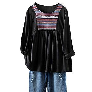 Women's Embroidery Blouse Bohemian Flowy Tunic Long Sleeve Crewneck T...