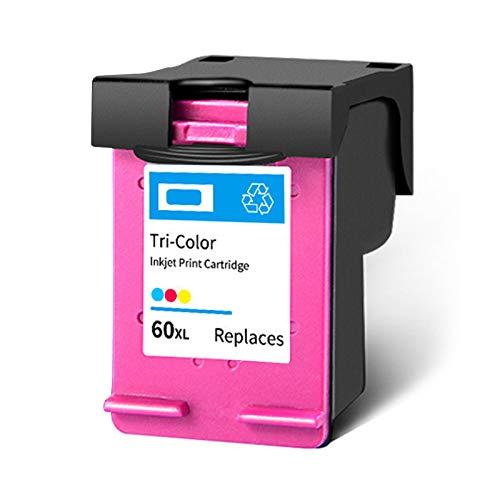Cartucho de tinta 60XL, repuesto de alto rendimiento para impresoras HP Deskjet F4280 F2410 F4480 PhotoSmart C4600 C4780 ENVY 100 110, color negro y tricolor 1 tricolor