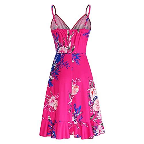 Lalaluka Vestidos de verano para mujer, Midi, elegante, espaguetis, escote en V, corsé, flores, vestido de playa, vestido bohemio, vestido de tirantes, túnica Rosa. M