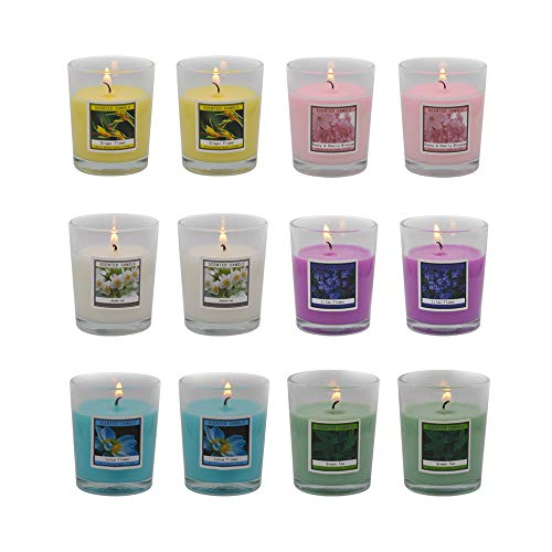 Set of 12 Scented Candles with 6 Fragrances, Natural Soy Wax Votive Candles for Party Dinner Yoga and Thanksgiving