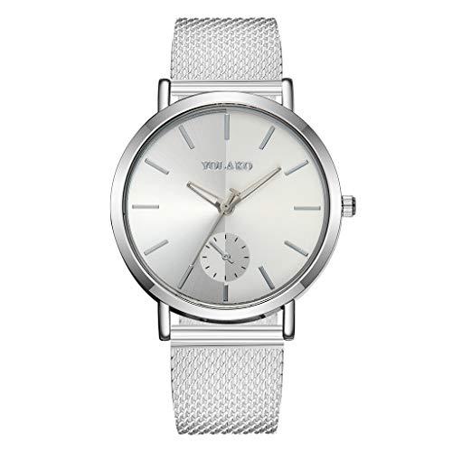 jieGorge ✔ Armbanduhr für Damen und Damen, analog, Quarz, Kunststoff, Lederband, Armband aus Netzstoff, Verkauf (A)